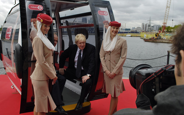 Boris Johnson at cable car sponsorship launch, 2011