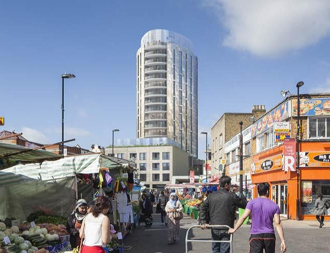 "Artists impression of the ""Teardrop"", as seen from Ridley Rd, Dalston"