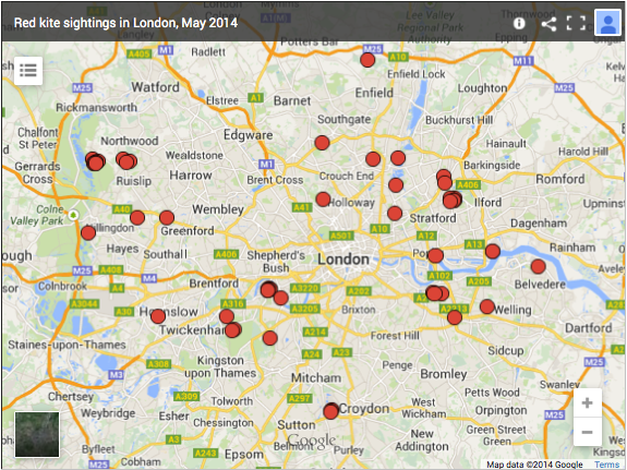 Map of red kite sightings in London, May 2014